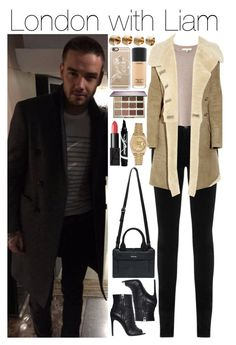 """""""London with Liam"""" by onemix-cmxx ❤ liked on Polyvore featuring AG Adriano Goldschmied, Vanessa Bruno, Balmain, Pierre Balmain, Maison Margiela, Casetify, tarte, MAC Cosmetics, NARS Cosmetics and Maybelline"""
