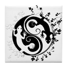 This yin yang gecko design combines Oriental tradition, lizards, and a dash of the southwest. A black gecko and a white gecko crawl on a yin-yang symbol. Great t-shirt or gift for Zen gecko lovers!