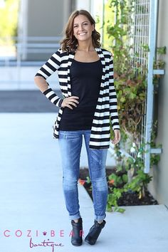 Our Striped Elbow Patch Cardigans are lightweight and stylish!  Add some class to your favorite top and jeans!  They feature a faux leather patch on the elbow and are amazingly soft!