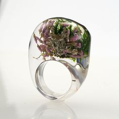 Moss And Heather Ring Unique Clear Resin Ring with by sisicata