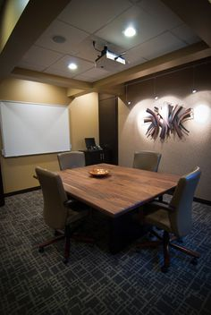 Recessed lighting  Warm Walls  Dark floor  Mounted Projector  Screen Law Office Design, Office Lighting, Conference Table, Workplace, Walls, Flooring, Dark, Image, Furniture