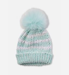 NEW JUSTICE Blue Initial Pom pom beanie hat /& fold-over gloves S O E T