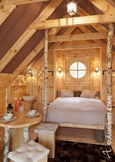 Bedroom in  cosy chalet (2 pers.) with wellness in Houffalize in the Ardennes (Belgium) – 105736-04.