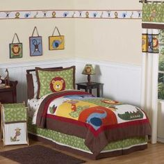 The Jungle Time Queen Bedding Set includes: queen quilt and 2 pillow shams. The quilt measures 86 inches x 86 inches. The pillow shams hold a standard size, 26 inch x 20 inch pillow. The quilt and shams are made of 100% cotton and 100% polyester fabrics. Filling is 100% polyester. Care instructions: machine wash cold with like colors in a gentle cycle, remove promptly, do NOT bleach, tumble dry low.