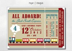 Personalized Kids Train Ticket Birthday Party Invitations - printable digital download invites - Designs for girls and boys via Etsy
