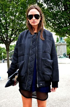 Layer the same color. Vary texture, sheerness, and length. Carin Wester bomber jkt.