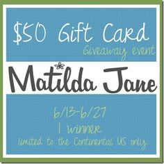 Matilda Jane Clothing $50 Gift Card #Giveaway, ends 6/27