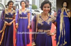 """Actress Priya Anand attended """"Arima Nambi"""" audio launch event in purple color collar neck floor length anarkali embellished with white thread work,"""