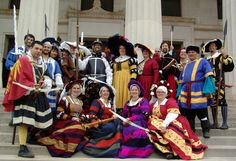 Picture of the all of the entourage (SCA/Ansteorra) at German themed Coronation for Jean Paul and Gilyan posted by Kajira Camber