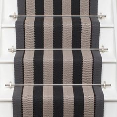 Roger Oates Fitzroy Black stair runner carpet with Polished Nickel stair rods on white painted staircase Striped Carpet Stairs, Striped Carpets, Carpet Staircase, Hall Carpet, Hallway Carpet Runners, Stair Runners, Best Carpet, Carpet Colors, Grey Carpet