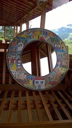 """Around the Town"" - as I call it - mosaic! Mosaic Wall Art, Mirror Mosaic, Mosaic Diy, Mosaic Garden, Mosaic Crafts, Mosaic Projects, Mosaic Glass, Mosaic Tiles, Mosaic Designs"
