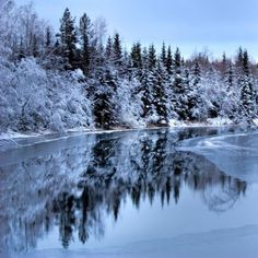"""winter scenery in the north of Sweden  **""""perfect reflection"""".  black & white.  accent sunrise/sunset - color highlight."""