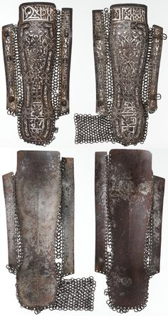 Ottoman mail and plate kolçak (greaves / shin armor),  late 15th century, St Irene arsenal marks in the inside of both kolcak,  steel, damascened with silver and partly gilt, length of right leg guard, 16 in. (40.64 cm) Width of right leg guard, 4 1/4 in. (10.8 cm) Length of left leg guard, 15 3/4 in. (40.01 cm), Met Museum,  Bequest of George C. Stone, 1935.