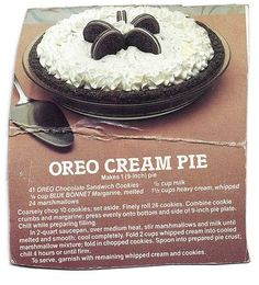 Vintage pie recipe. Oreo Cream Pie Vintage recipe from 1970s advertising