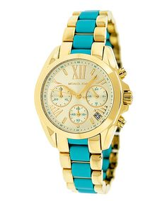 Gold & Turquoise Bradshaw Chronograph Watch | Michael Kors