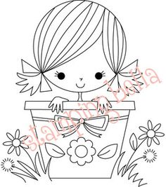 Stamping Bella Unmounted Rubber Stamp-Florence The Flower Pot Girl