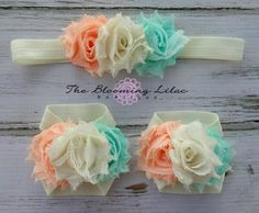 Vintage Inspired Baby Barefoot Sandal and Headband Set - Ivory, Peach, Light Aqua Triple Row Photography Prop - Newborn Girl Clothing Baby Sandals, Bare Foot Sandals, Diy Headband, Baby Headbands, Flower Headbands, My Baby Girl, Baby Love, Baby Set, Newborn Girl Outfits