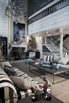A Dream Home Decorating Ideas On Christmas: monochrome home christmast interior decor style on living room with striped sofas and wooden flo...