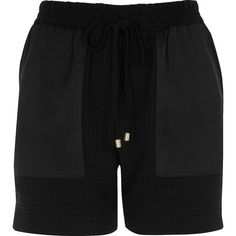 River Island Black houndstooth print panel shorts (£44) ❤ liked on Polyvore featuring shorts, black, casual shorts, women, pocket shorts, tall shorts, metallic shorts, woven shorts and houndstooth shorts