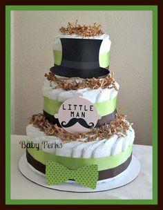 Little Man Diaper Cake. $48.00, via Etsy. #babyshower #diapercake