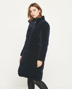 Abrigo largo acolchado VELVET Marino Color Azul, Winter Jackets, Random, Fashion, Long Coats, Winter Coats, Moda, Winter Vest Outfits, Fashion Styles