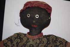 Antique Doll Black Cloth Rag Unusual Stockinette