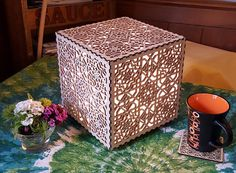 Laser Cut Square Accent Lamp by TomCraftsWales on Etsy