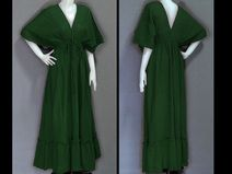 HB16 Hippie Boho Dark-GreenKimono Maxi Long Dress