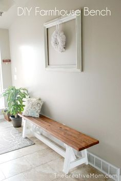 How to Build a Farmhouse Bench (for under $20) DIY PLANS wood 2x4 pine two tone white stain bench pretty farmhouse style
