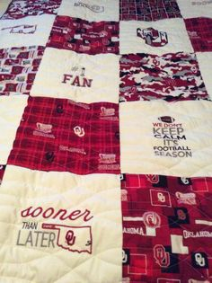 Handmade OU quilt with machine embroidery