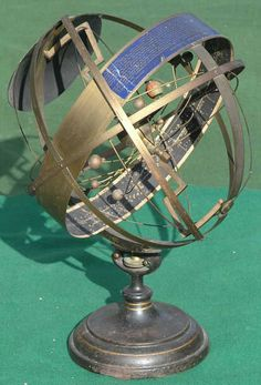 Orrery and Armillary Sphere by Henry Bryant, Patented Sept. 10, 1872,  The Celestial Indicator is a unique American combination of an Armillary Sphere (rings showing the celestial circles of the earth and sky) and an Orrery (showing relative planetary movements in the solar system).