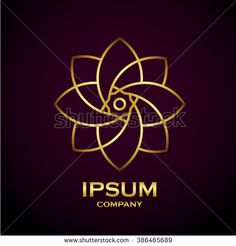 Beautiful flower gold line decoration vector logo - stock vector