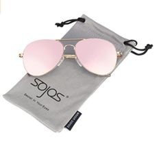 f02fd04453a SOJOS Classic Aviator Mirrored Flat Lens Sunglasses Metal Frame with Spring  Hinges with Gold Frame Pink Mirrored Lens