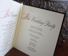Wedding Program Booklet. This beautiful square wedding program booklet can be bound with staples or ribbon.