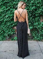 Women's Boho V Neck Sleeveless Backless Snowflake Printed Slit Maxi Dress