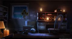 study environment night cgsociety interior concept desk living older craig character fashioned
