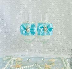 """Купить Свадебные бокалы """"Лагуна"""" - бирюзовый, свадебные бокалы, бокалы для свадьбы, бокалы для молодоженов"""
