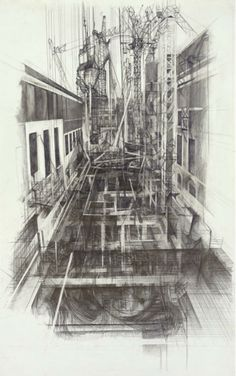 Liam O'Connor, Exhibition Road Drawing Resident, April 2014 – April 2015, 'View from the model room window, view 20', Documentation of a building site at the British Museum. © Liam O'Connor