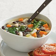 Vegetarian Dinner Recipe: Two-Bean Soup with Kale < Quick and Easy Vegetarian Recipes for Dinner Tonight - Cooking Light Mobile Hearty Vegetarian Soup, Vegetarian Recipes Dinner, Healthy Recipes, Healthy Soups, Vegetarian Cooking, Vegan Food, Crockpot Recipes, Yummy Recipes, Recipies