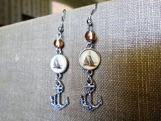 Nautical Silver Ship and Anchor Earrings by EmilyConanDoyle, $12.00