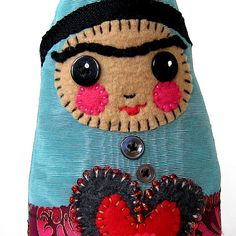 Frida the Gnome  a Frida folk art doll hand by yoborobo