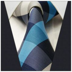 Checked Blue Silver Turquoise Mens Neckties Ties 100% Silk Jacquard Woven