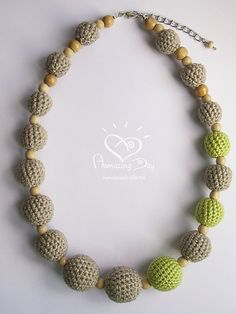 LINEN & Neon Lime NECKLACE Rustic CROCHET Bead Grey by AmazingDay