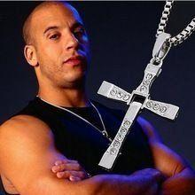 Velozes e furiosos Dominic Toretto Vin filme clássico strass Sliver cruz colares homens