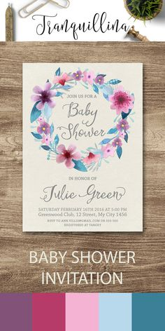 floral baby shower invitation girl baby shower invitation printable baby shower invitation purple baby shower invitation boho baby shower