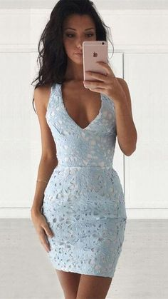 sexy homecoming dresses, light blue applique homecoming dresses, mini homecoming dresses, short prom dresses, formal dresses, cocktail party dresses#SIMIBridal #homecomingdresses