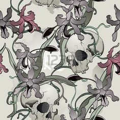 Orchid and skull seamless background Stock Vector