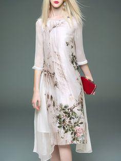 3/4 Sleeve Silk-blend Crew Neck Vintage Printed Midi Dress