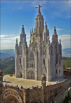 Only if i could see this in person. The Temple Expiatori del Sagrat Cor is a Roman Catholic Church on Mt. Tibidabo, Barcelona, Catalonia, Spain by Girang Oh The Places You'll Go, Places To Travel, Beautiful Buildings, Beautiful Places, Saint Marin, Picture Store, Church Architecture, Amazing Architecture, Sacred Architecture