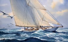 Sailing Yachts, Sailing Ships, Sea Art, Marines, Watercolor, Nice, Canvas Art, Water Colors, Paintings